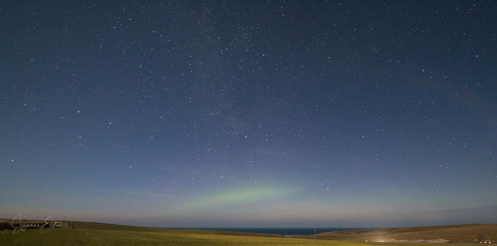 Aurora borealis over the north Atlantic