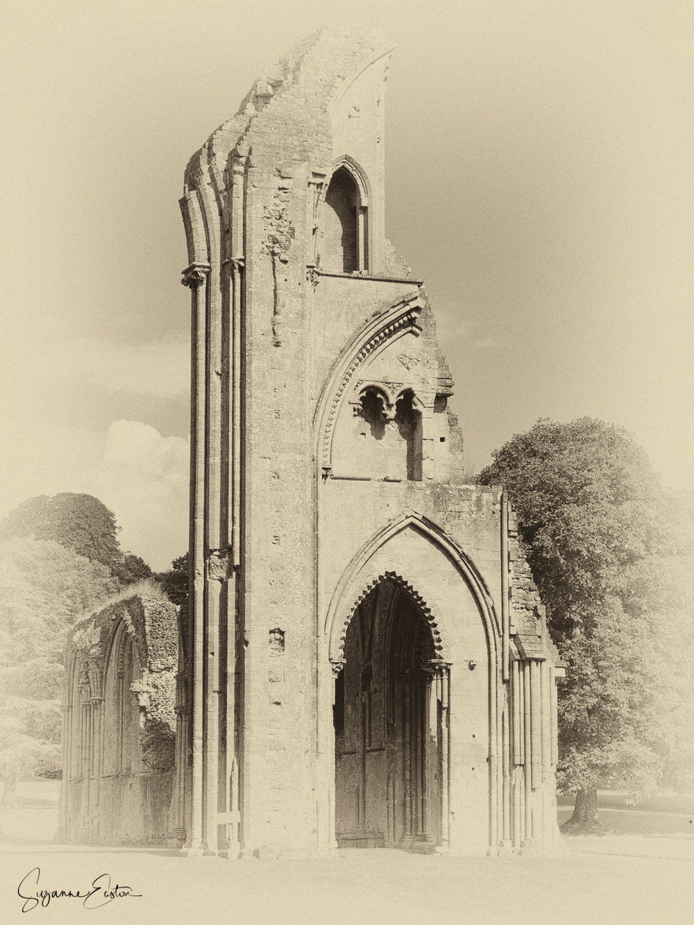 The ruins of Glastonbury Abbey in Somerset
