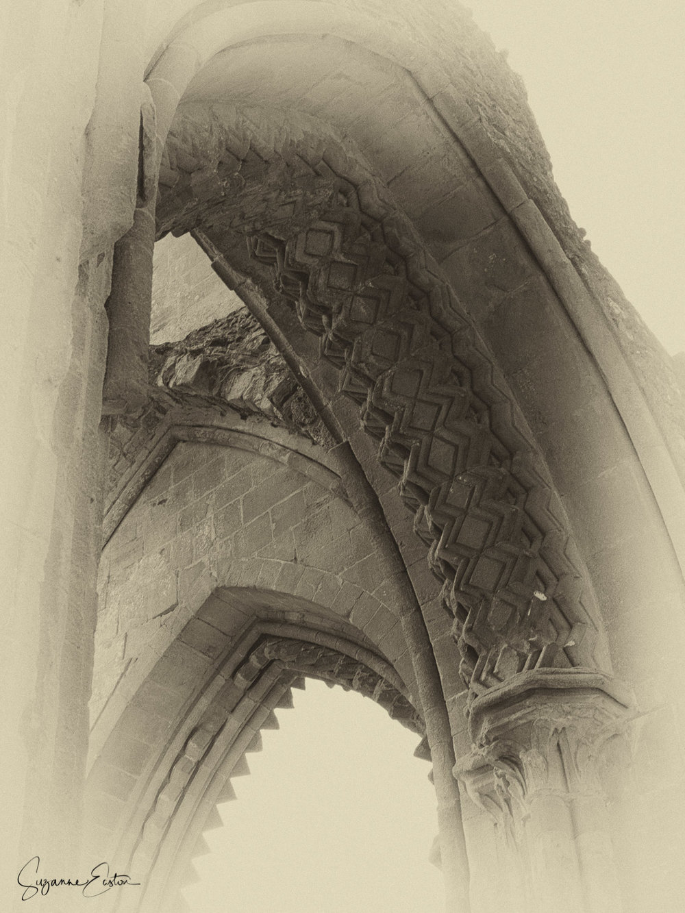 A carved archway at Glastonbury Abbey