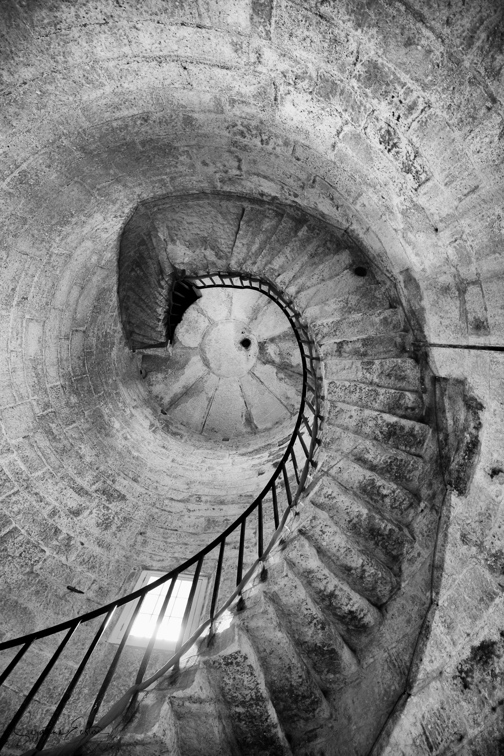 The spiral stairs of Lundy Old Light