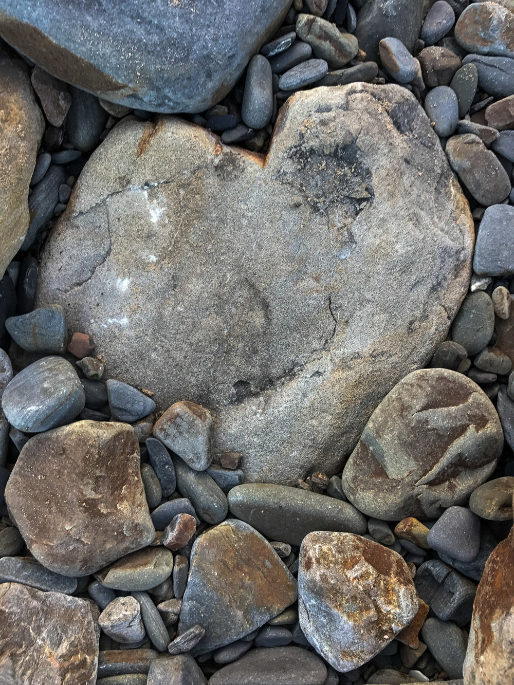 Heart pebble on Monkstone beach