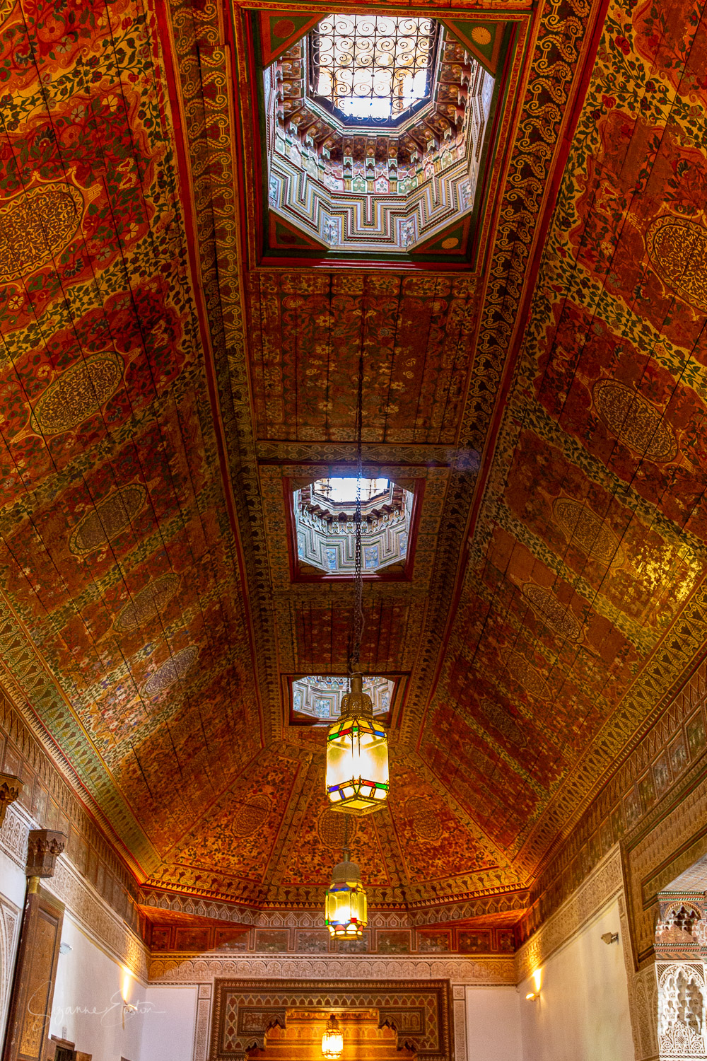 An ornate ceiling in Palais Bahia, Marrakech
