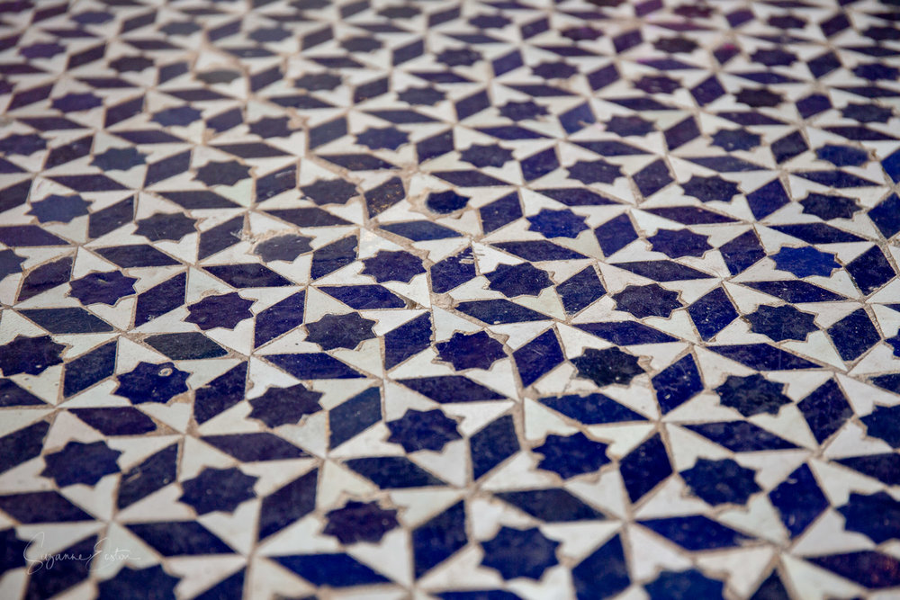 Ornate floor tiles in Palais Bahia in Marrakech