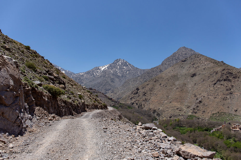 The newly made path from Imlil into the High Atlas Mountains