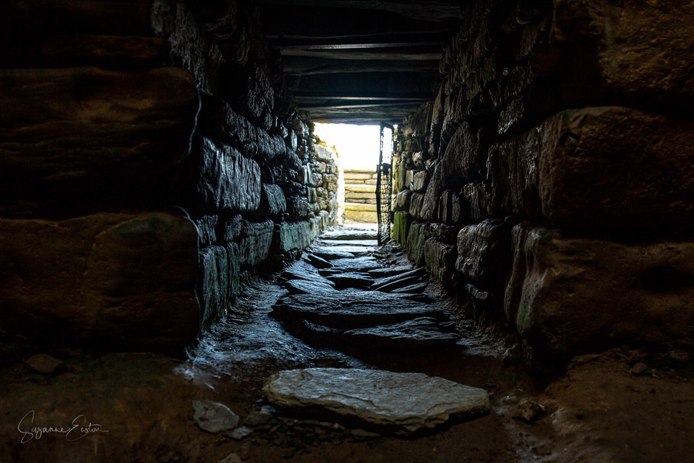 Inside Quoyness Chambered Cairn