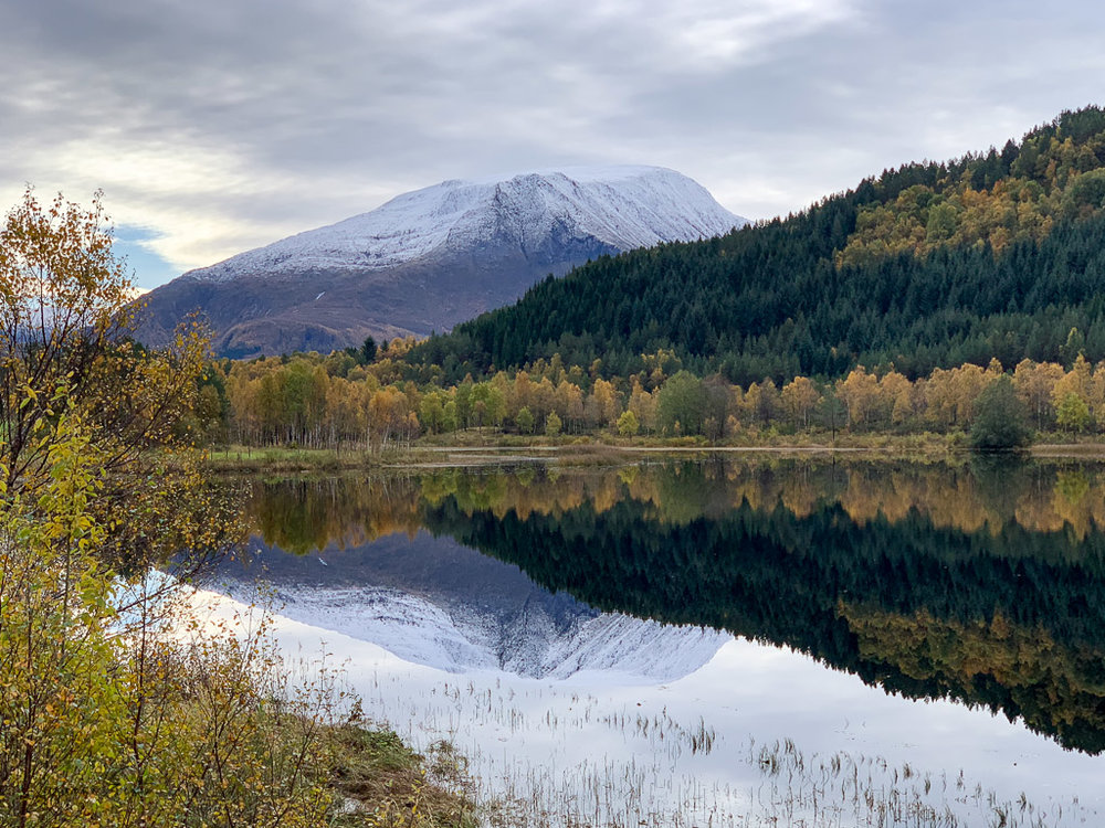 Perfect autumn reflection of a mountain in Norway taken on an iphone