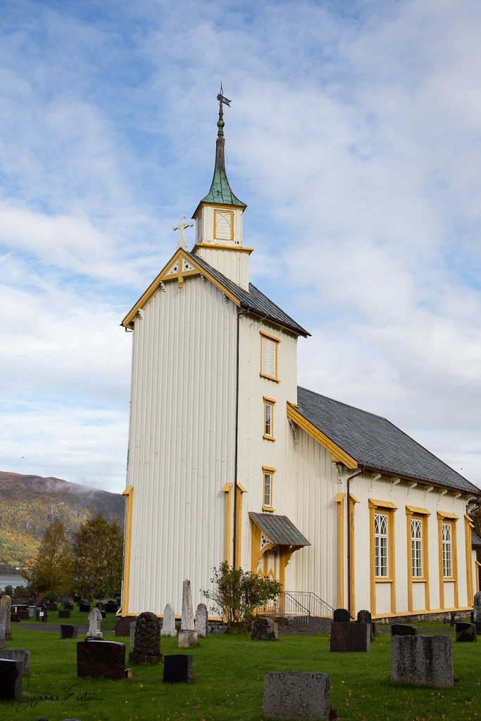 Otnes kirke overlooking Valsøyfjord in Norway