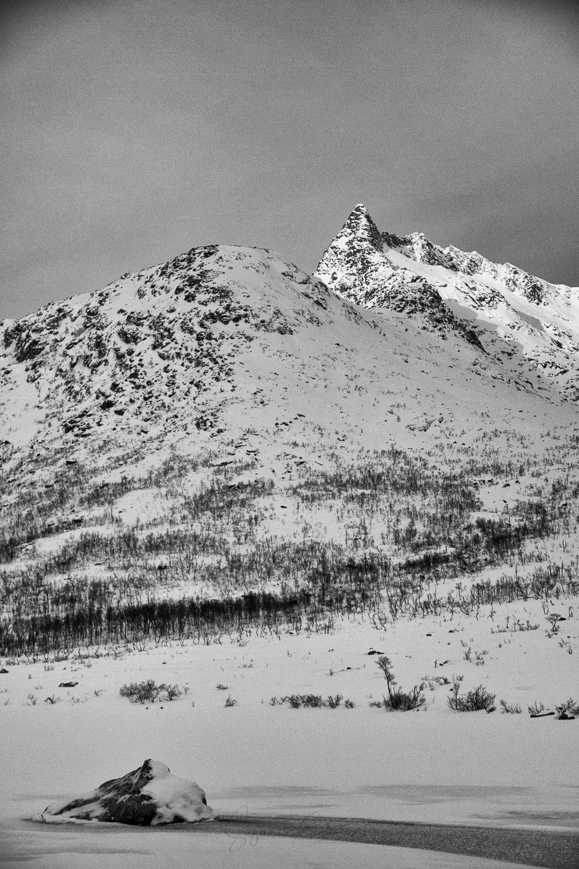 Monochrome mountain in Norway