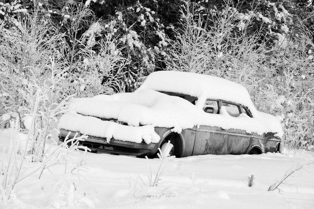 a volvo in the snow in Sweden