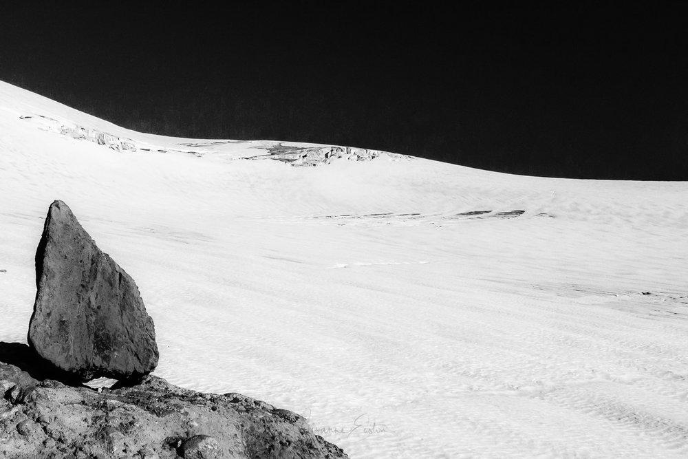 Glacier Alerce in Patagonia in black and white