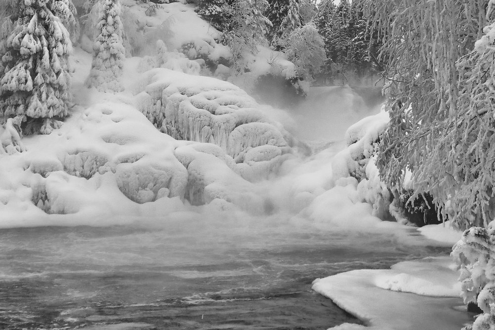 Frozen waterfall on Oulanka national park, the end of a great trek