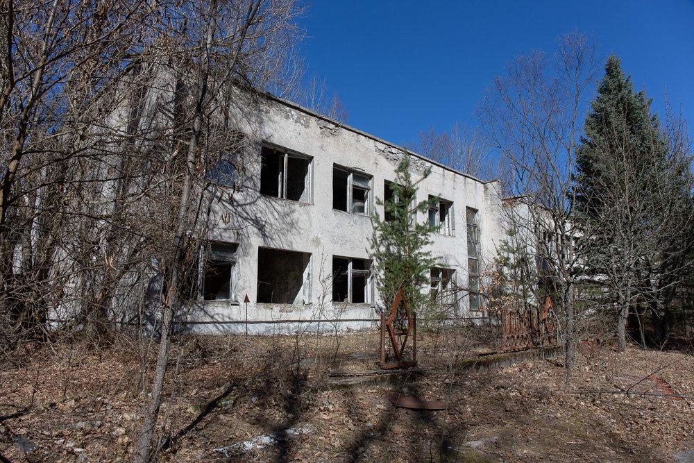 Outside an abandoned kindergarten in Pripyat