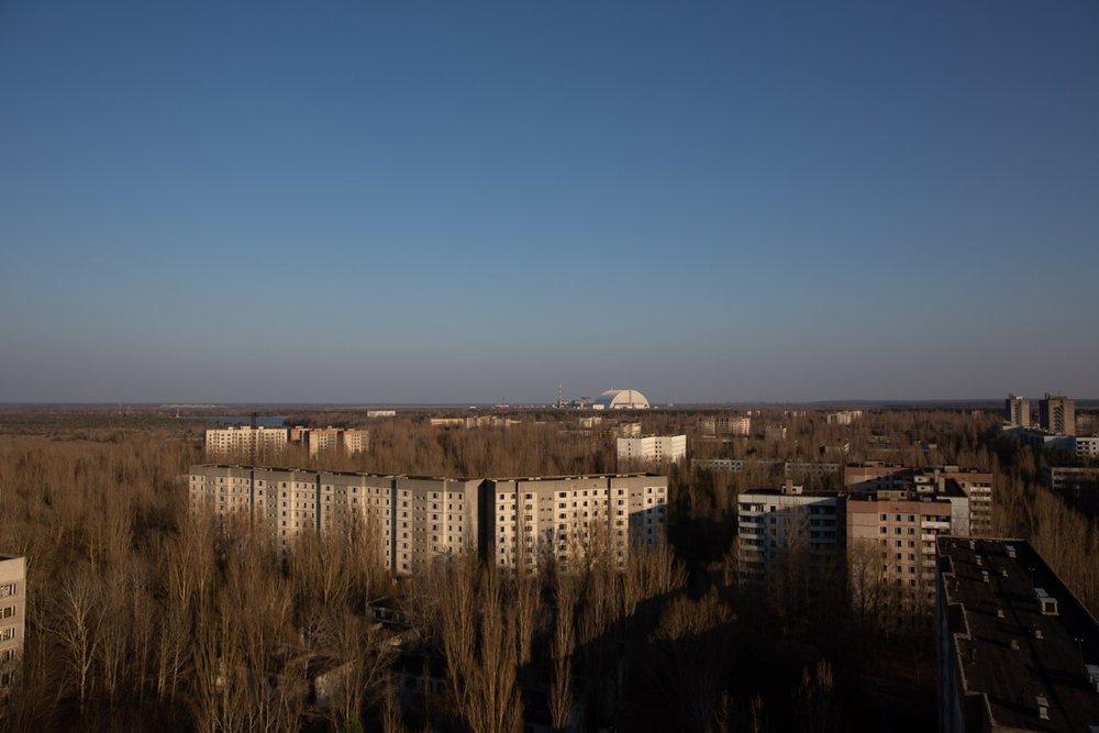 Chernobyl power plant seen from Pripyat