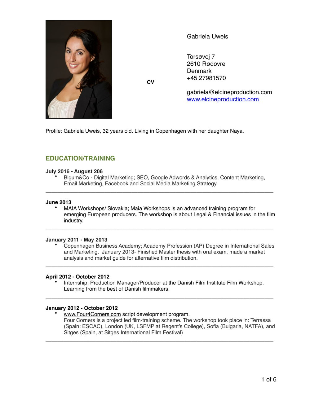 Resume — EL CINE PRODUCTION - Film, Documentary, Music Video ...