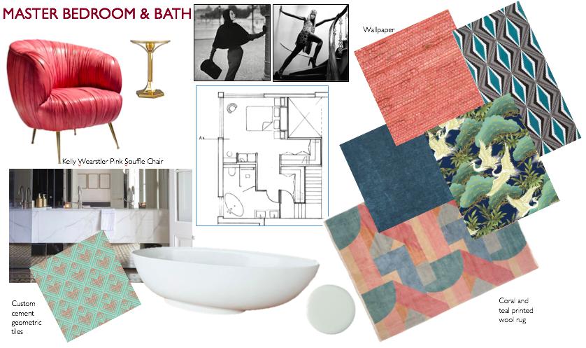 Kelly wearstler, bedroom, souffle chair, pink, blush, geometric, tile, seagrass, bathroom