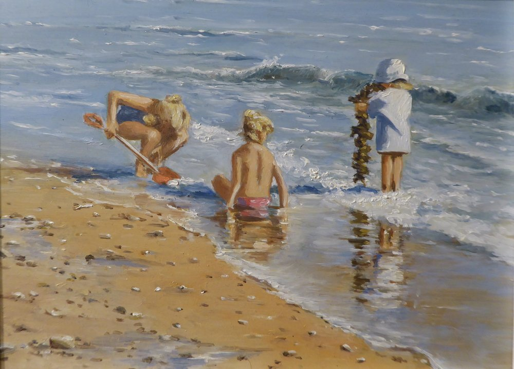 CHILDREN AT THE SEASIDE    6 x 8 inches -  £185