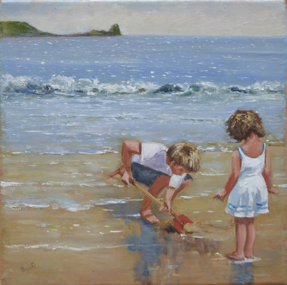 Playing off Worms Head   8 x 8 inches -  £125