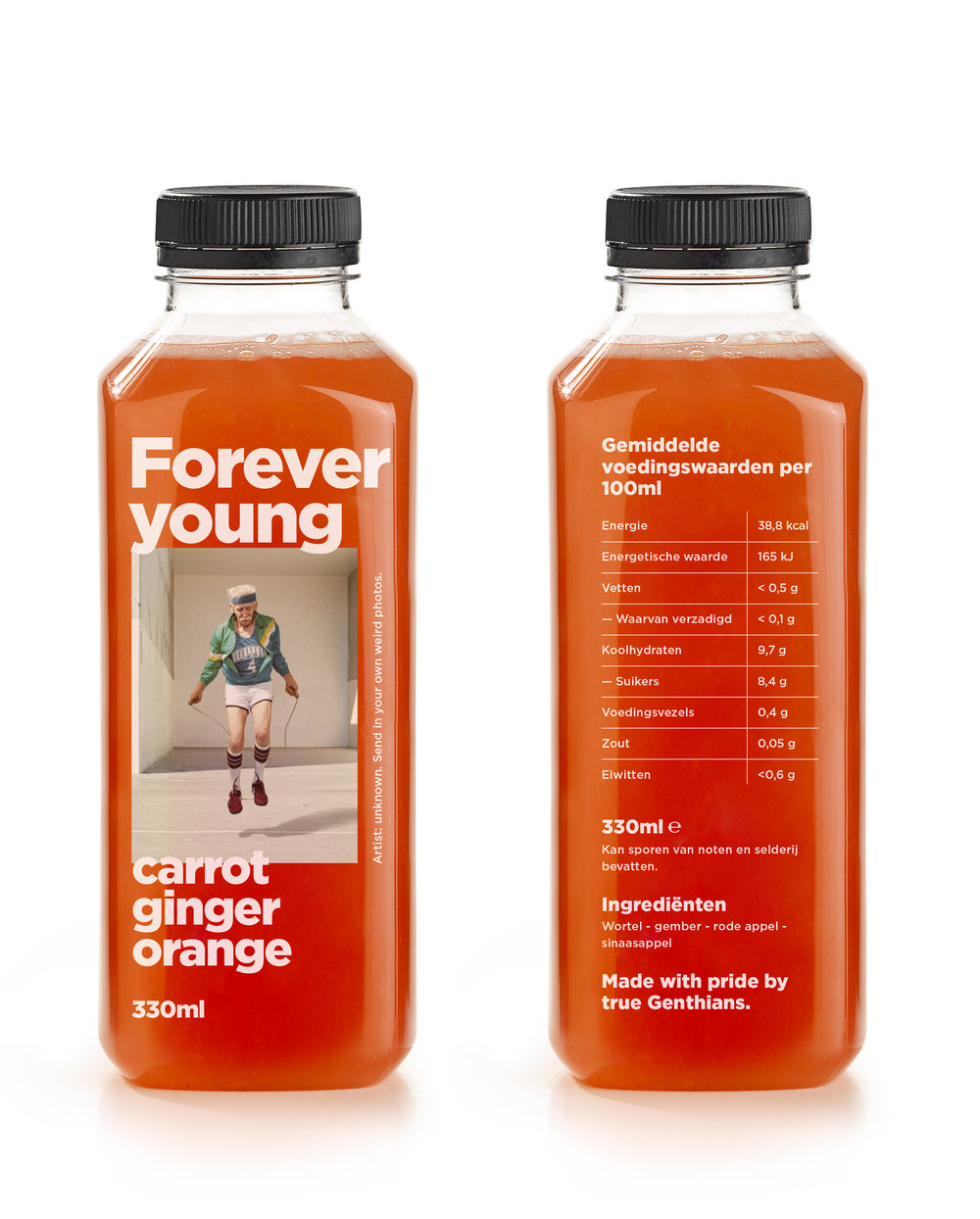 FOREVER YOUNG - Carotte / Ginger / Red apple / orange- This orange brew pimps your metabolism and slows down the aging process. Take a sel e afterwards.