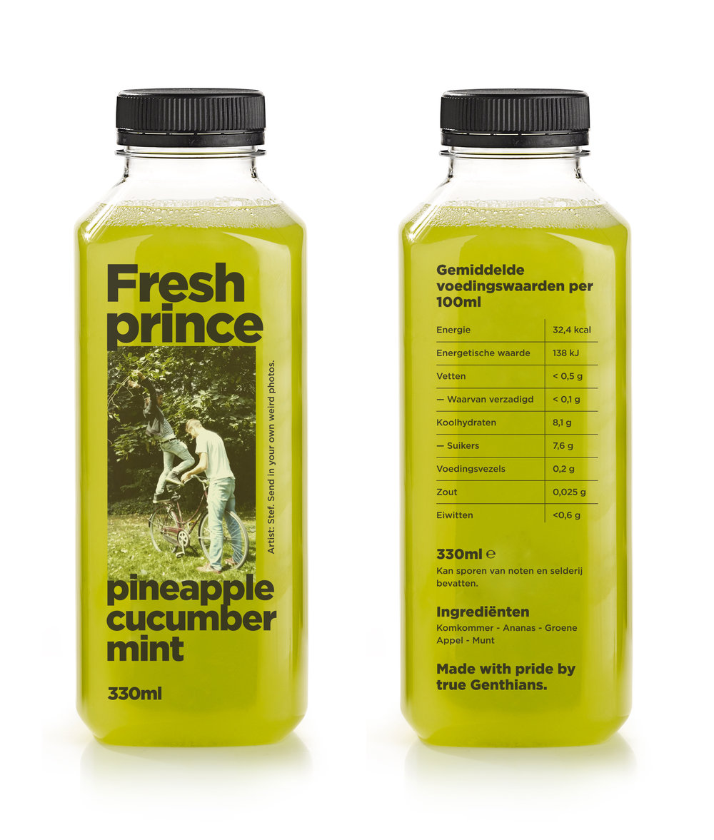 FRESH PRINCE - Pineapple / Cucumber / Apple / Mint- Possible effects: hydration, reduce water retention and cut toxins. Pineapple and mint deliver a fresh kick.