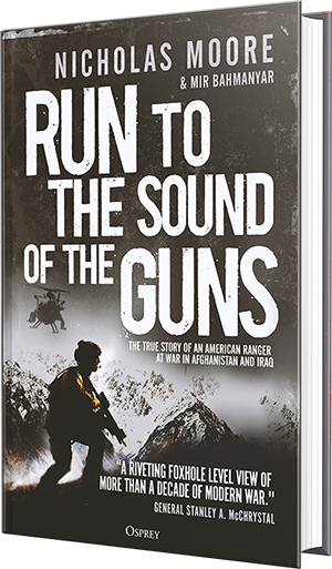 run to the sound of guns, nicholas moore, mir bahmanyar, book, war