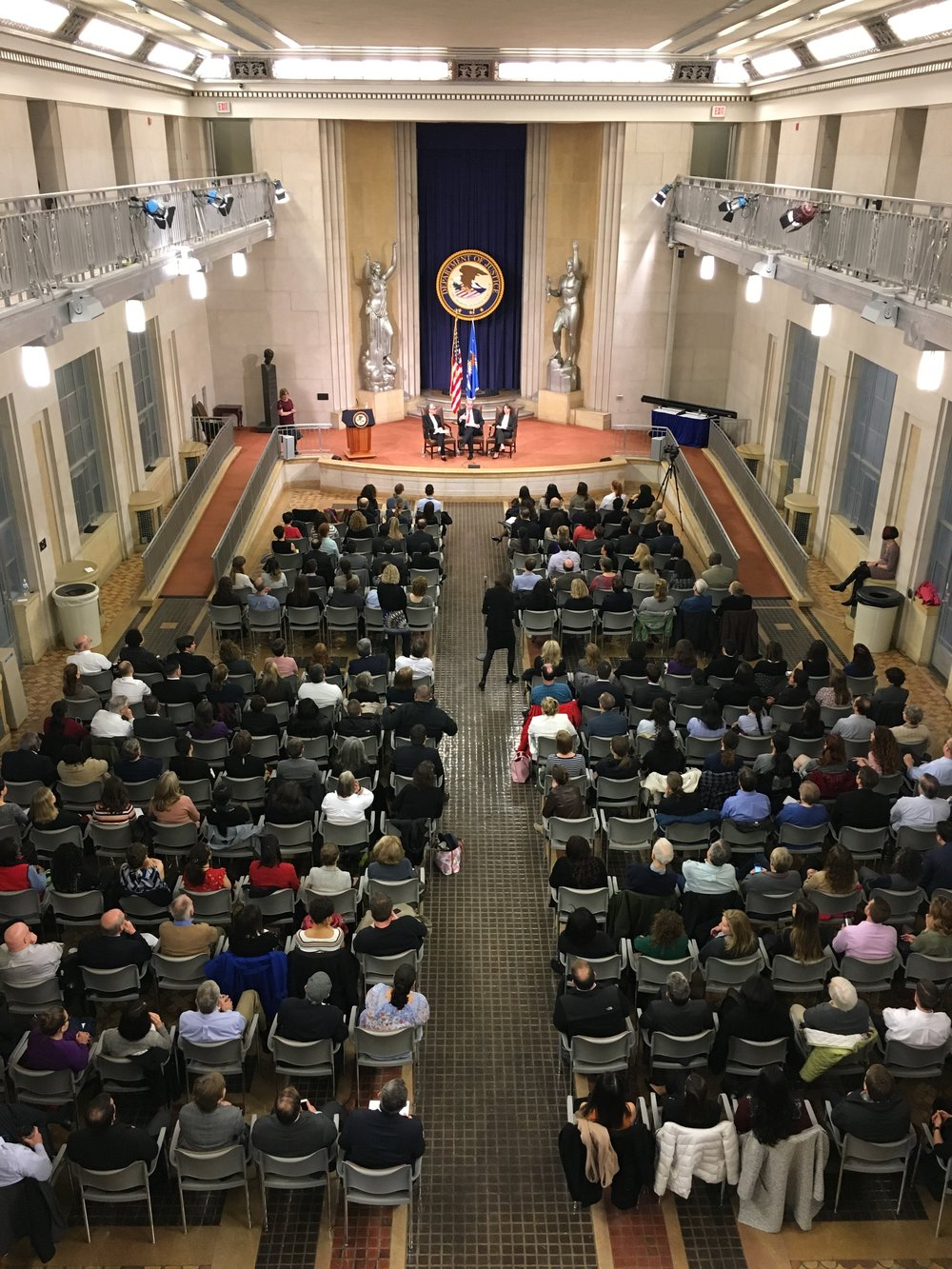 An aerial image of the audience listening to Inspector General Michael Horowitz describe the Office of the Inspector General's efforts to combat sexual harassment at the DOJ.