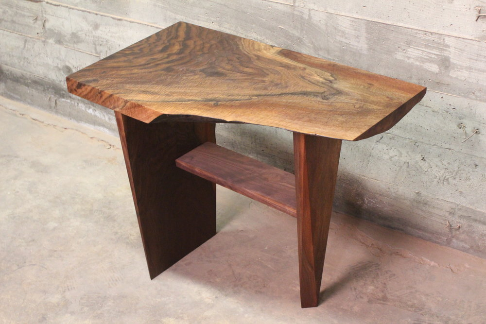 Walnut End Table - A smaller salvaged Black Walnut end table, features a mid-level shelf and is 36
