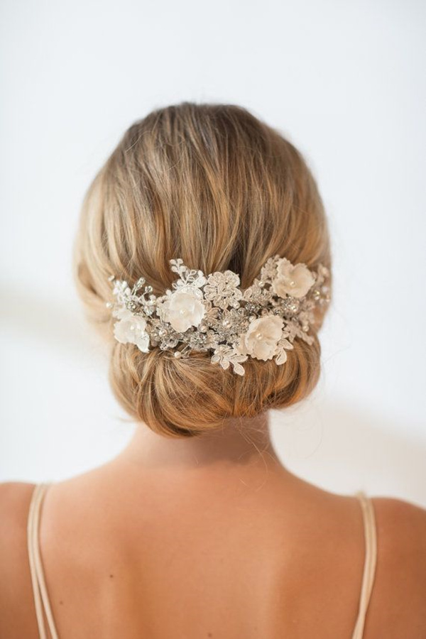 Large Lace and Crystal Hair Comb