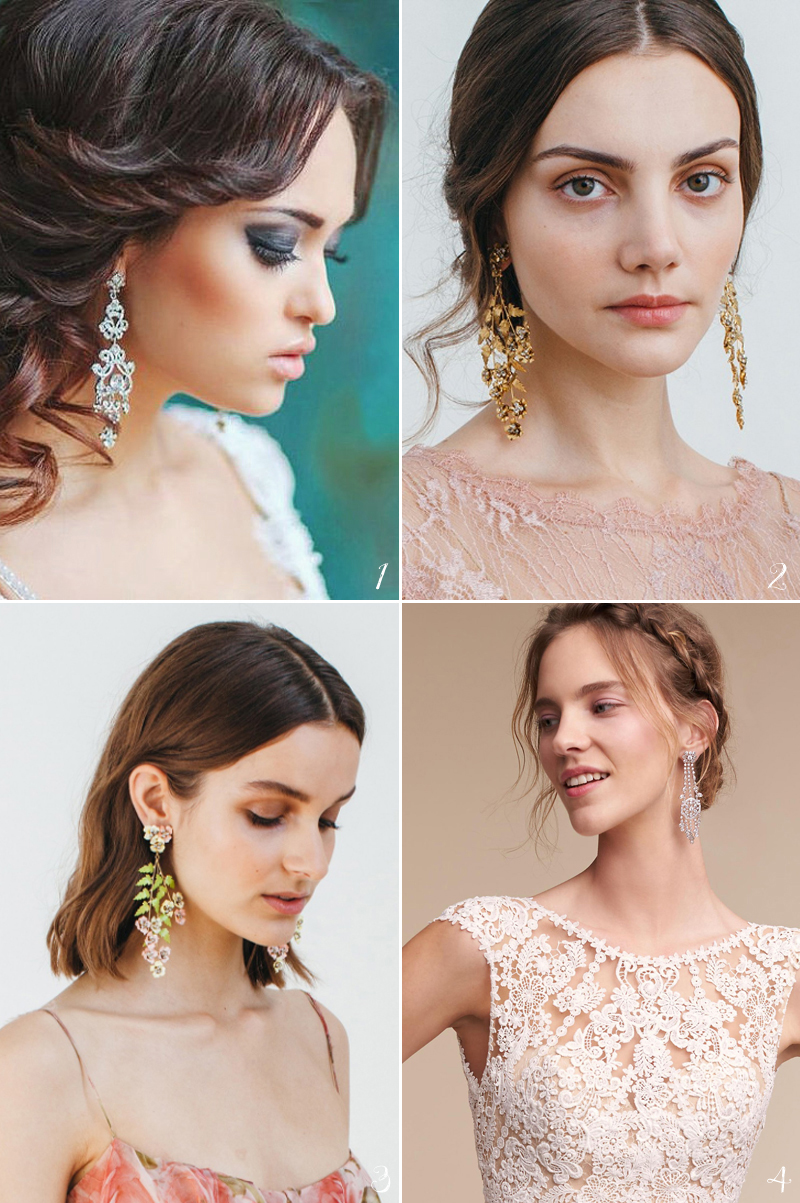 Bridal earrings don't have to be only your grandmother's pearls!
