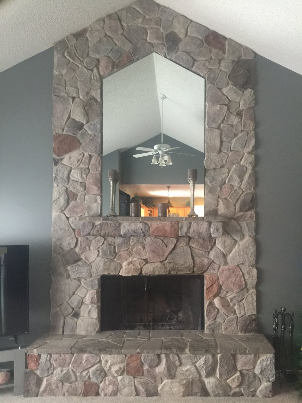 Custom interior fireplace stonework in Genesee County, MI