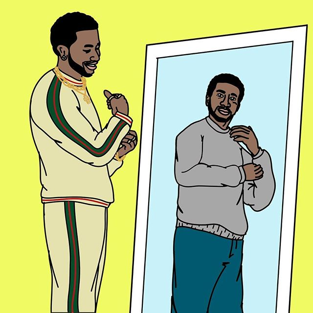 "On the blog: How to life like Gucci Mane when you're more like ""Can I get away with this knock-off"". Also- how amazing is this artwork we commissioned from the talented @alpo.snow 🙌"