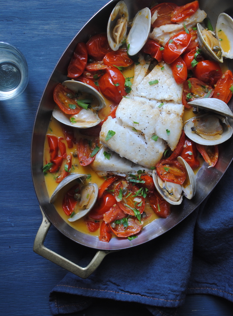 Cod with Tomatoes & Clams -