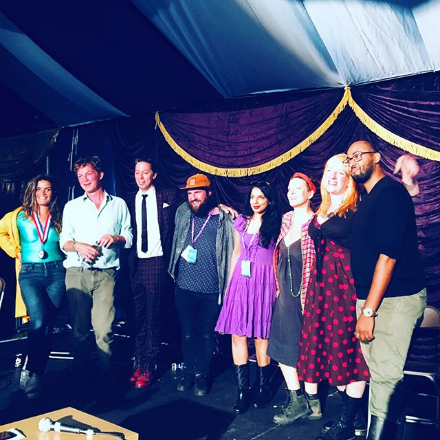 I read poetry at Green Man Festival yesterday as part of the Literary Death Match.  Myself and three amazing writers, reading for five minutes each and judged by some other bad arse writers.  Audience of a good couple of hundred, glitter, ale, beards literally everywhere... and guess what.... Your gal won 🏅  #poetry #spokenword #writing #creativity #words @greenmanfest @literarydeathmatch