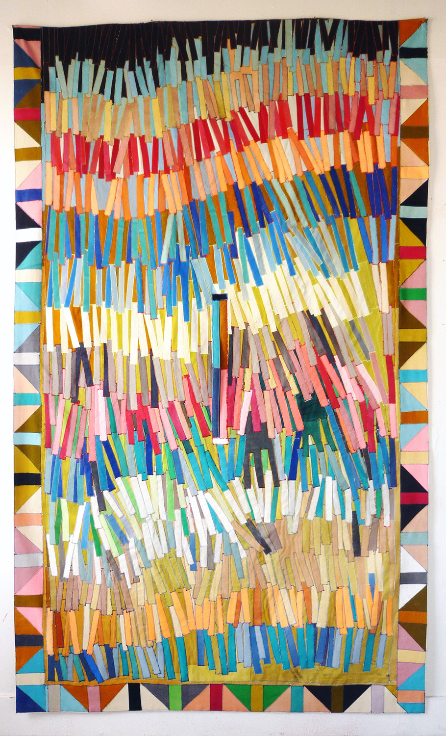 Poncho no 3, 2013    paint on canvas, sewing thread    246 x 147 cm