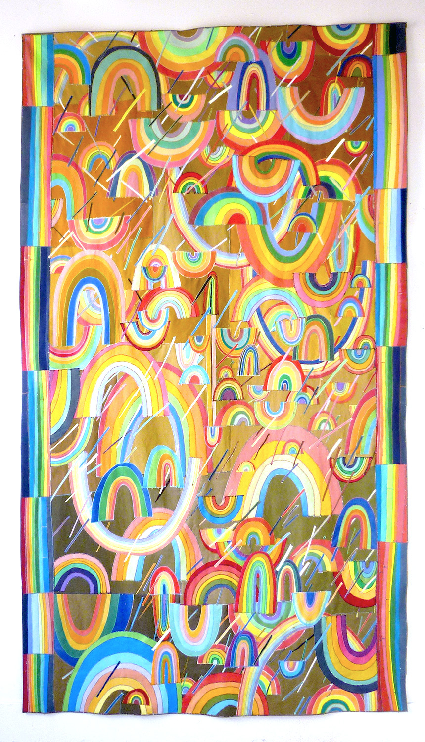 Poncho no 4, 2013    paint on canvas, sewing thread    244 x 138 cm