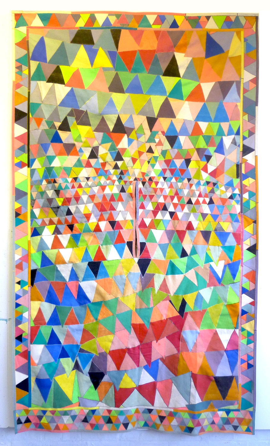 Poncho no 1, 2016    paint on canvas, sewing thread    242 x 141 cm