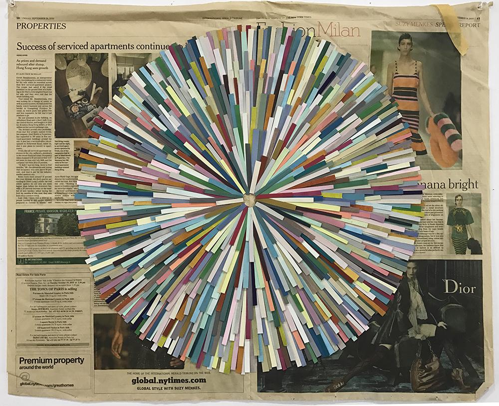 Spout, 2010  gouache on paper, newspaper  58 x 69 cm