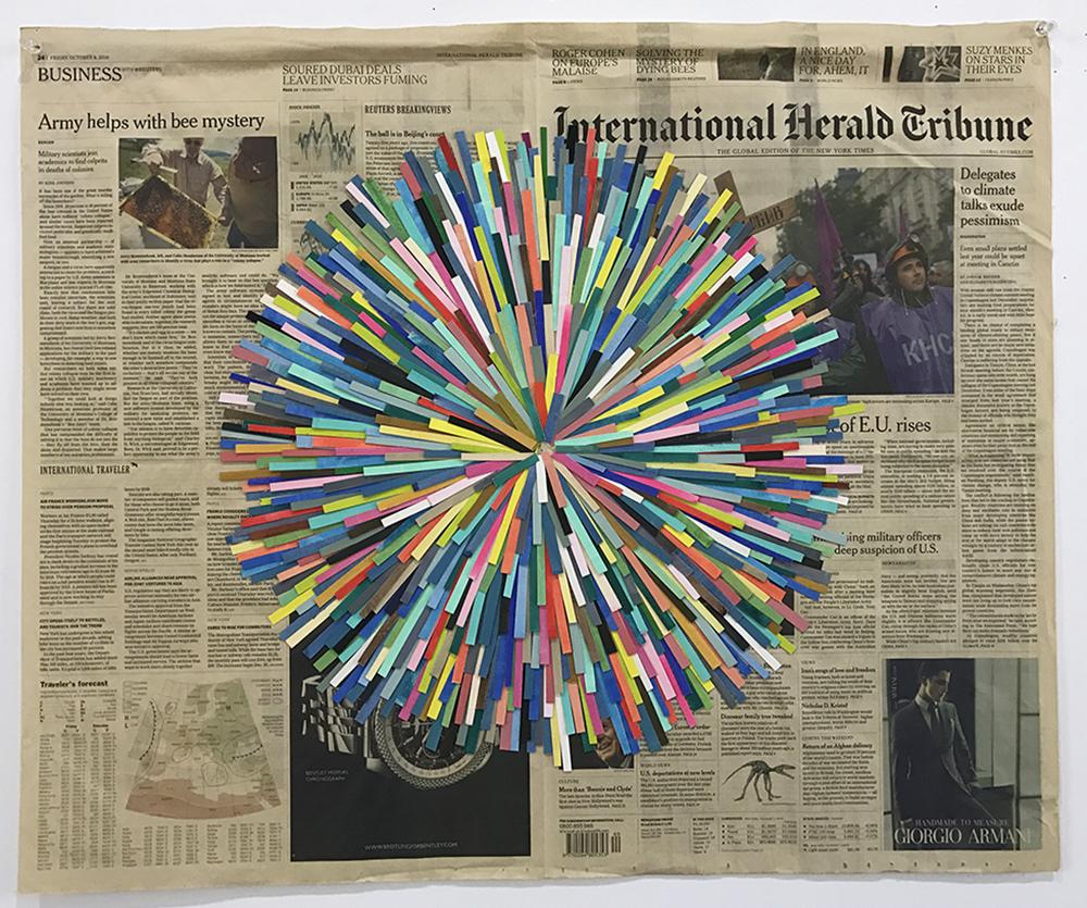 Blowout, 2010  gouache on paper, newspaper  58 x 69 cm