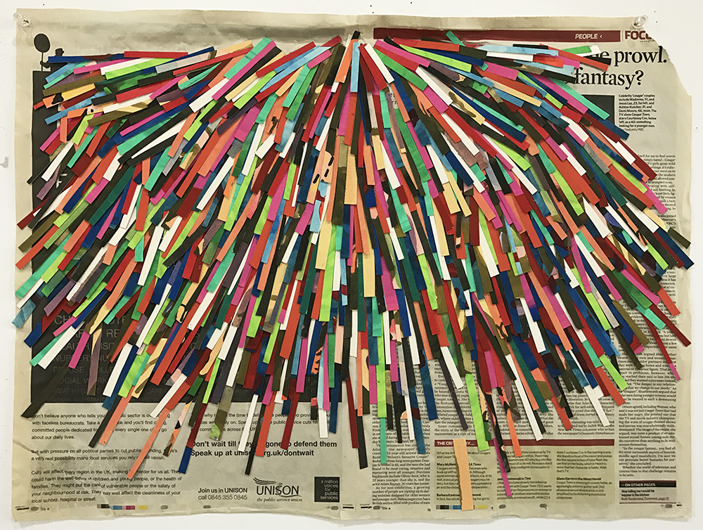 Shower, 2009  gouache on paper, newspaper  46,5 x 63 cm