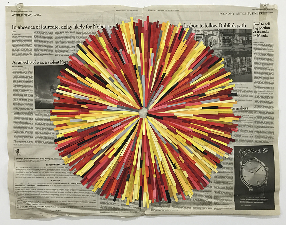 Flare, 2010  gouache on paper, newspaper  58 x 69 cm