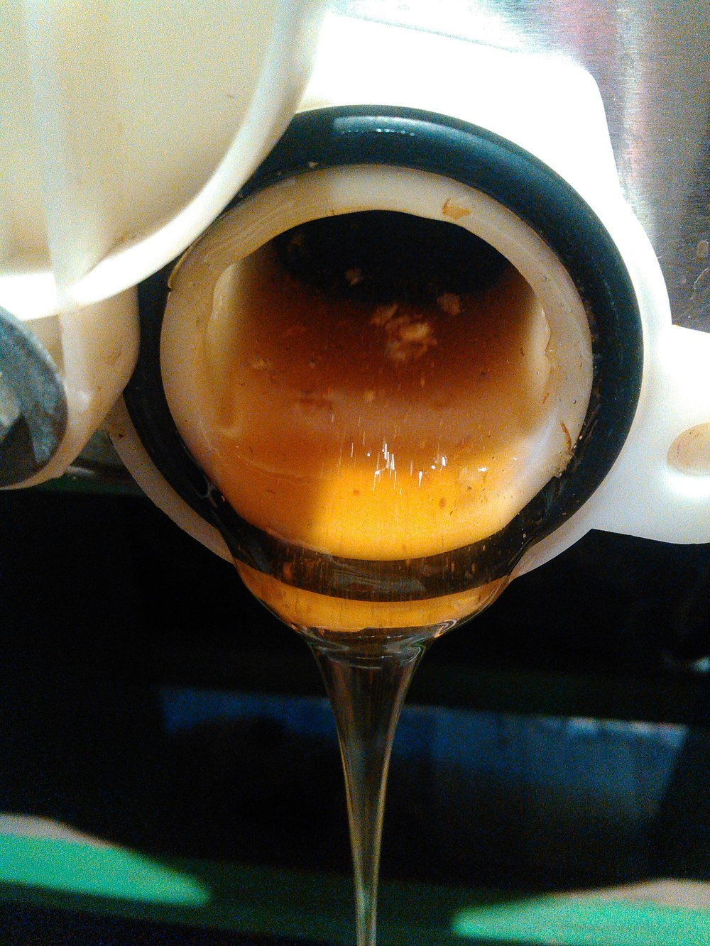 Honey pouring from the extractor