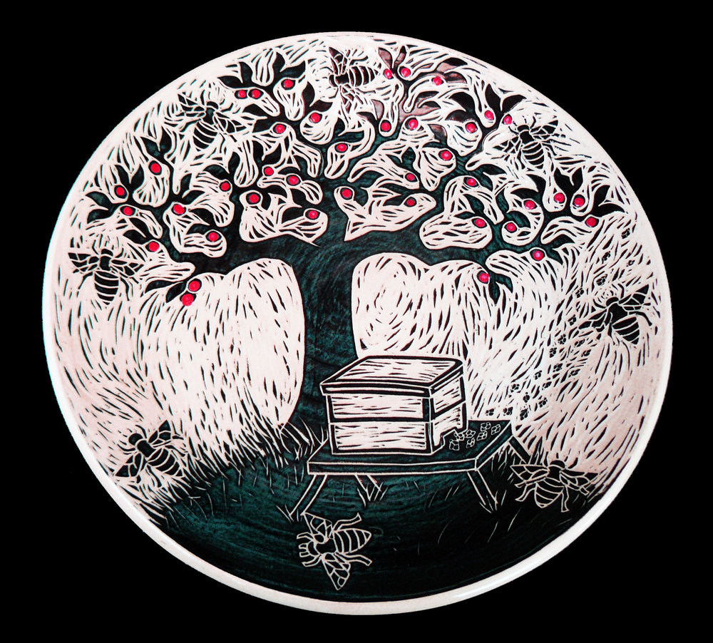 Honey Bee Tree Plate