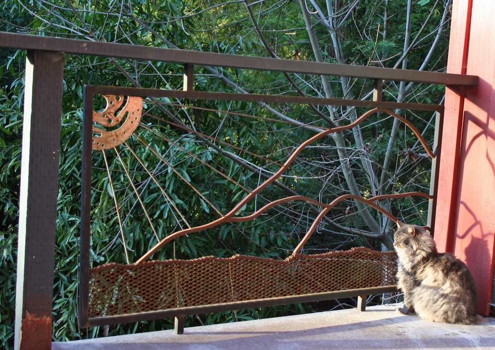Here is a trellis/railing that Joey made for my studio (and the muse, Dalziel)