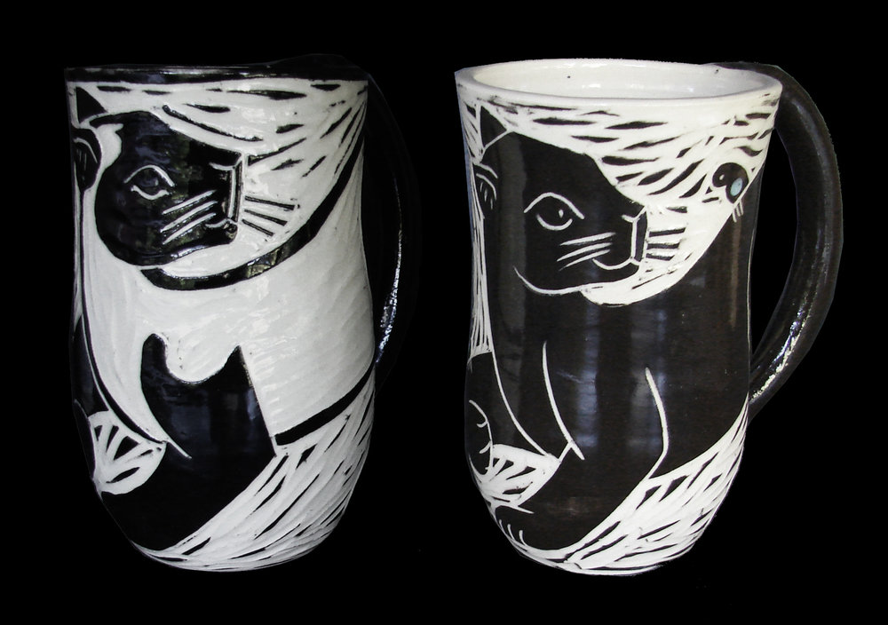 Woodcut Black & Siamese Cats