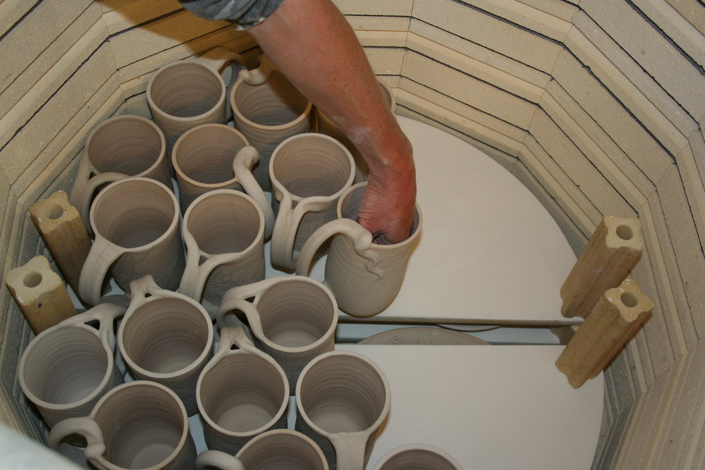 8) Glaze Fire  - Here I am loading the kiln for the final firing, to cone 5 or 2167 degrees. Approx 24 hours total
