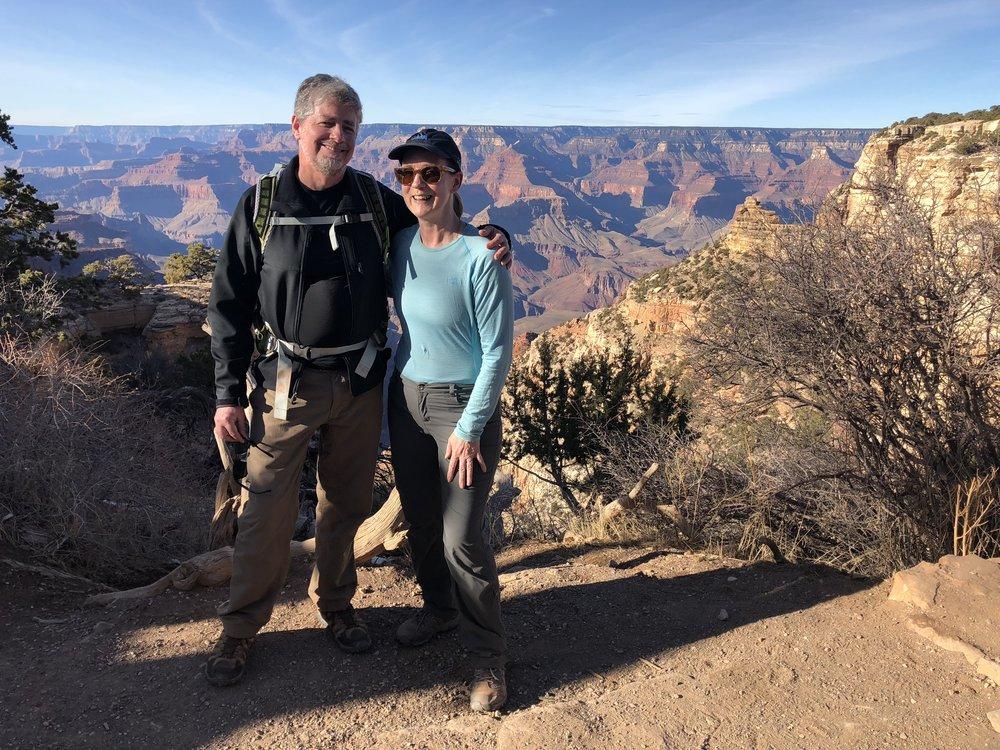 Beardwood hiking with her husband