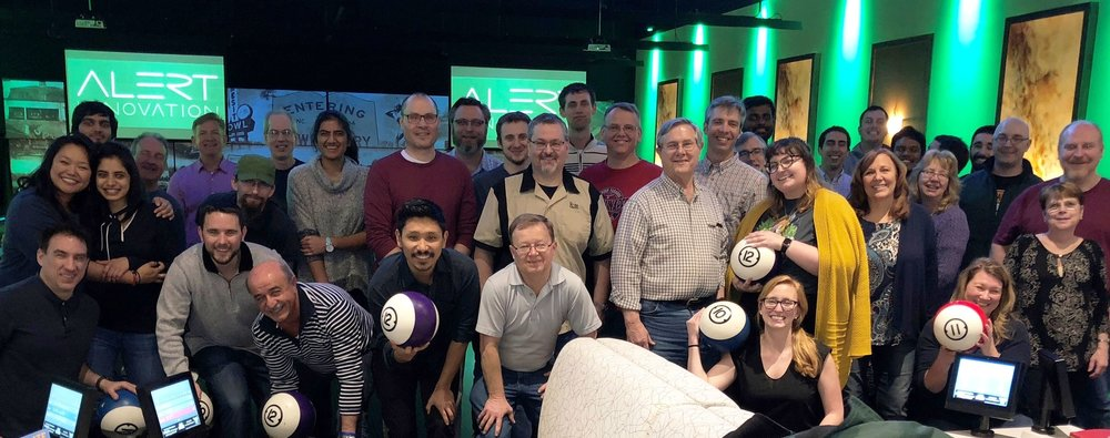 Alert Innovation company bowling photo from February 2018