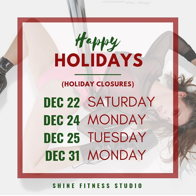 Our studio will be closed for the holidays, the only pole you'll have will be up north 🎅 // here are the days we will be closed through the end of the year! (Never fear, we still have Lyra this Sunday, so get signed up!) . Saturday, Dec 22 Monday, Dec 24 Tuesday, Dec 25 Monday, Dec 31 . Have a wonderful holiday season! ❄️ .