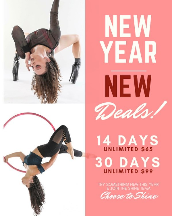 Try something new and start off the new year by crushing your goals! We are offering great new deals so you can start off 2019 right! . We are offering unlimited options for our new students this new year // this will apply to all of the aerial and flexibility classes we offer 💪🏽 . 14 days unlimited classes for $65 // follow this link to get this great deal: goo.gl/GLLTR3 . 30 days unlimited classes for $99 // follow this link to get this great deal: http://goo.gl/JyG4Z6 .