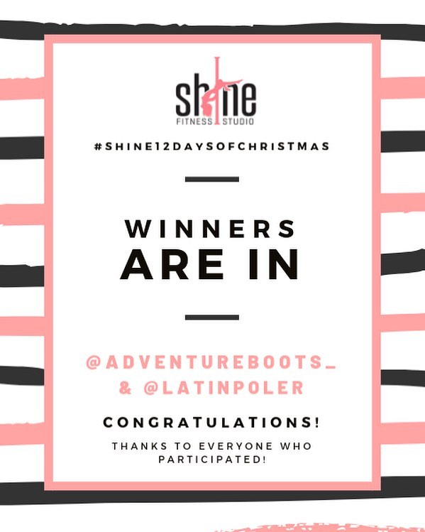 Congratulations to our two winners of the #shine12daysofchristmas pole challenge! // you have each one a set from @pushandpole // we will be reaching out to each of you shortly with the details! . Thank you to everyone who participated this year, we loved seeing your creativity in each and everyone of the submissions! . Winners: @adventureboots_  @latinpoler .