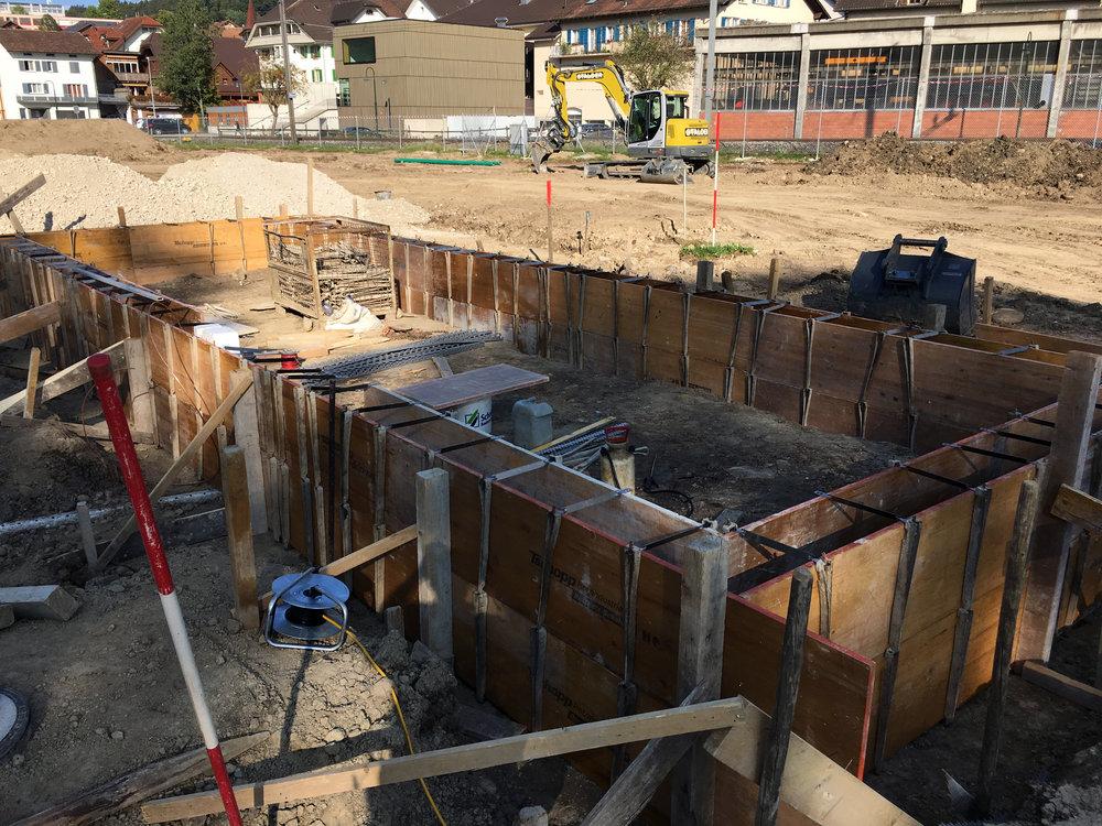 Aufbau zum Betonieren der Bodenebene